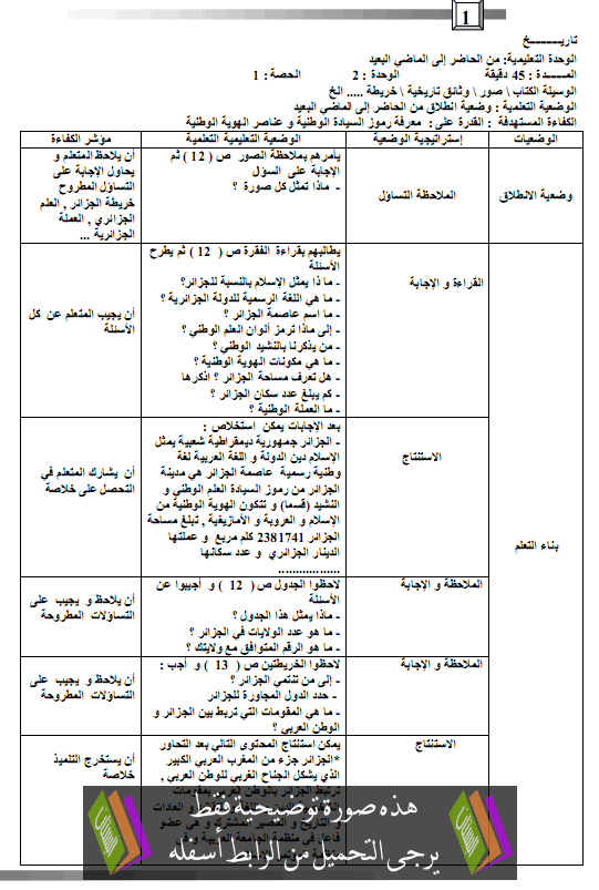 مذكرات التاريخ للسنة الرابعة ابتدائي - بستان الجزائر