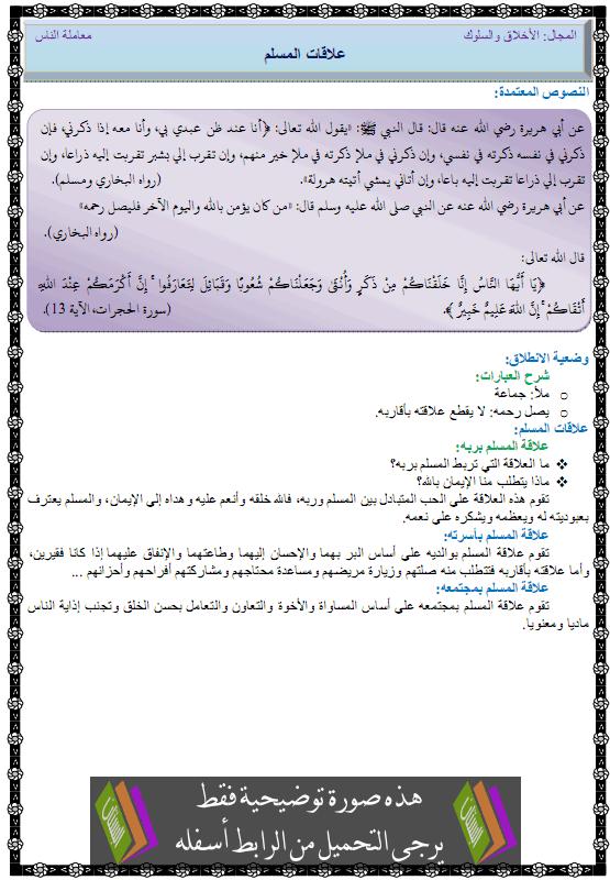 درس التربية الإسلامية علاقات المسلم الأولى متوسط alakat-almoslim.png