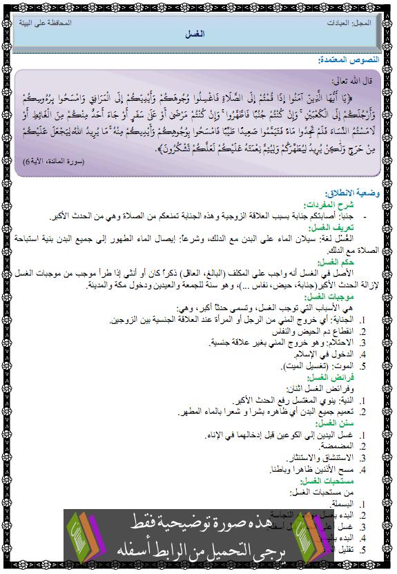 درس التربية الإسلامية الغسل الأولى متوسط alghasl.png