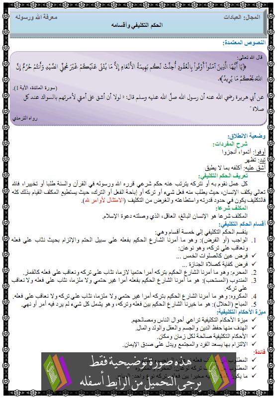 درس التربية الإسلامية الحكم التكليفي وأقسامه الأولى متوسط alhokm-ataklifi.png