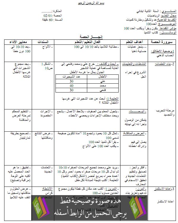 مذكرات الرياضيات للسنة الثانية ابتدائي