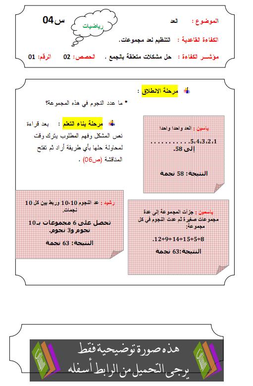 مذكرات الرياضيات  للسنة الرابعة ابتدائي
