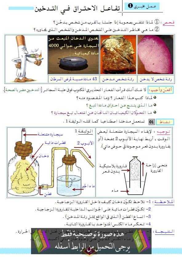 درس العلوم الفيزيائية والتكنولوجيا: تفاعل الاحتراق في التدخين – الثالثة متوسط
