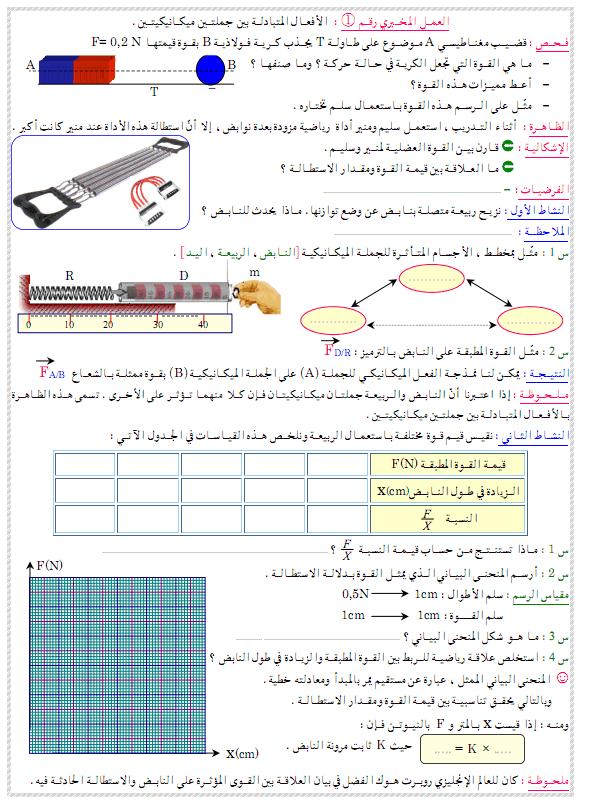 درس العلوم الفيزيائية والتكنولوجيا الأفعال المتبادلة بين جملتين ميكانيكيتين alaf3al-almotabadala
