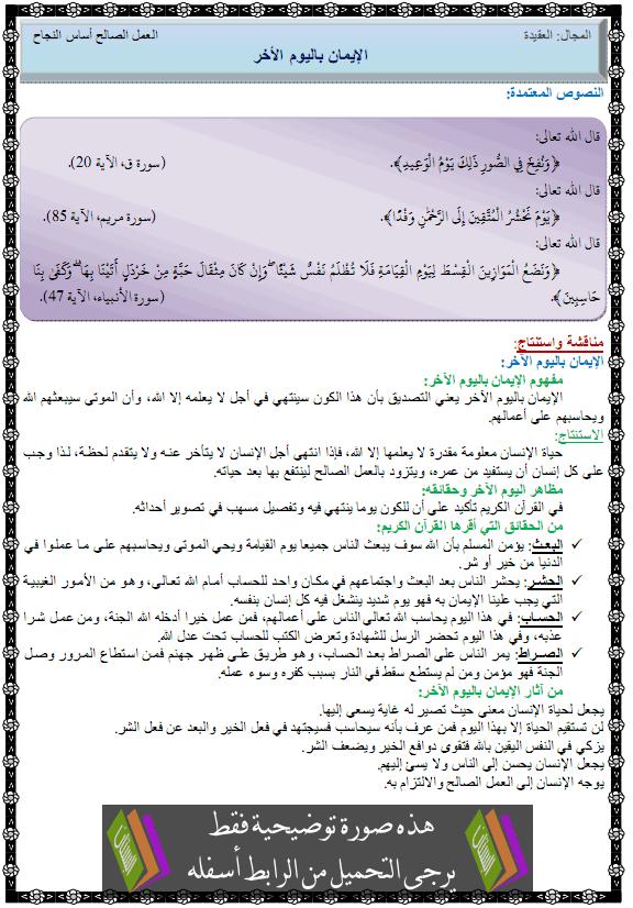 درس التربية الإسلامية الإيمان باليوم الأخر الرابعة متوسط aliawm-alakhir.png