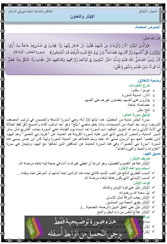 درس التربية الإسلامية الإيثار والتعاون الثانية متوسط alitar-taawen1.png