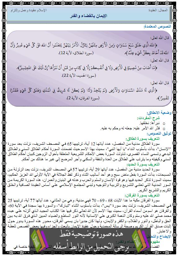 درس التربية الإسلامية الإيمان بالقضاء والقدر alkadae-walkadar.png