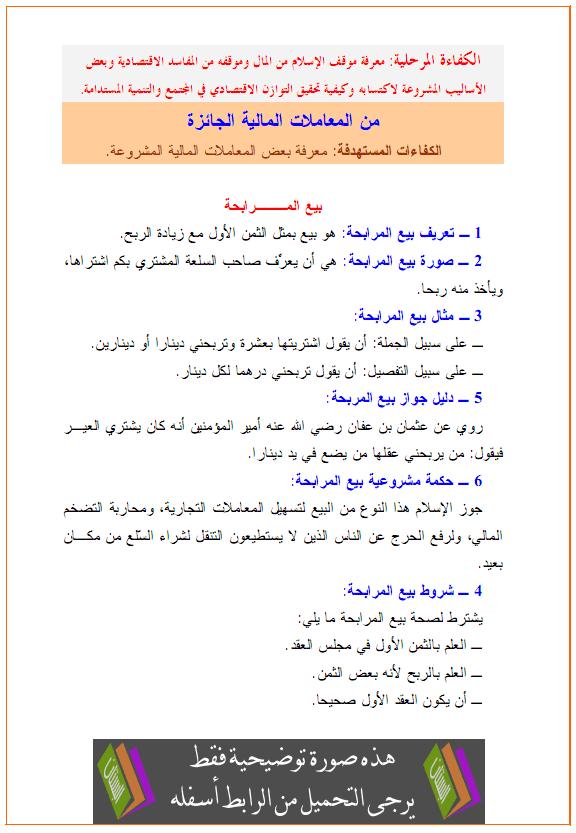 درس العلوم الإسلامية: من المعاملات المالية الجائزة (المرابحة، التقسيط، القراض، الصرف) almoamalat-ajaiza.pn