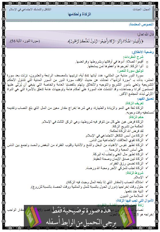 درس التربية الإسلامية الزكاة وأحكامها الثانية متوسط azzakat.png
