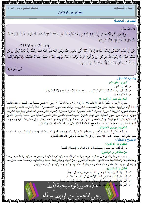 درس التربية الإسلامية مظاهر برالوالدين الرابعة متوسط bir-alwalidain.png