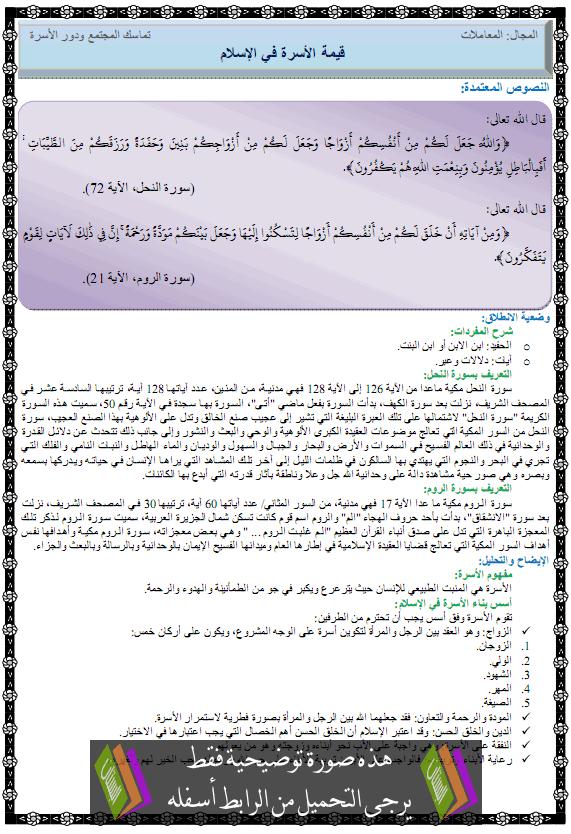 درس التربية الإسلامية قيمة الأسرة في المجتمع kimat-alosra.png