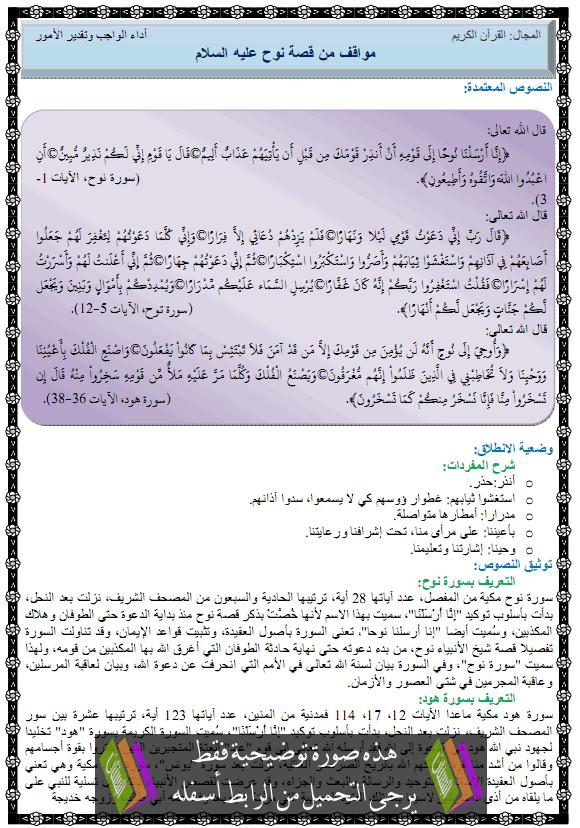 درس التربية الإسلامية مواقف من قصة نوح عليه السلام no7.png