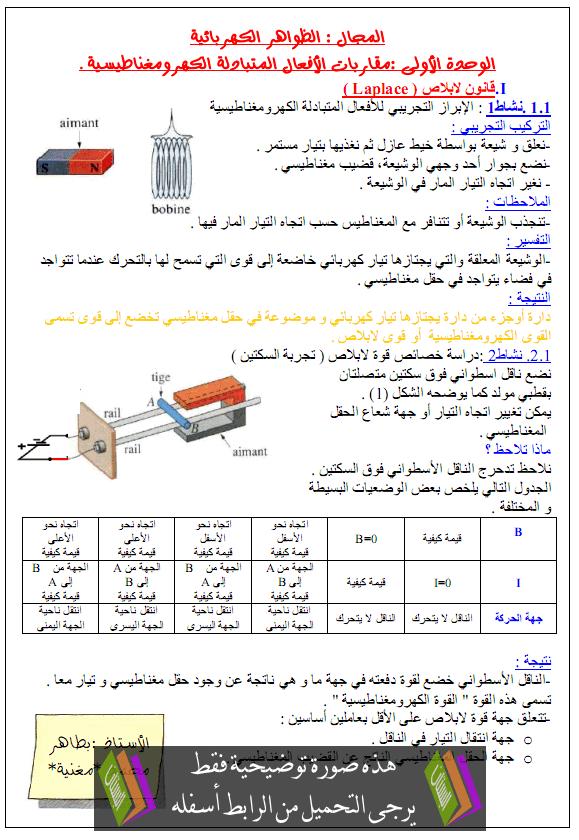 درس العلوم الفيزيائية مقاربات الأفعال المتبادلة الكهرومغناطيسية الثانية ثانوي alaf3al-almotabadala
