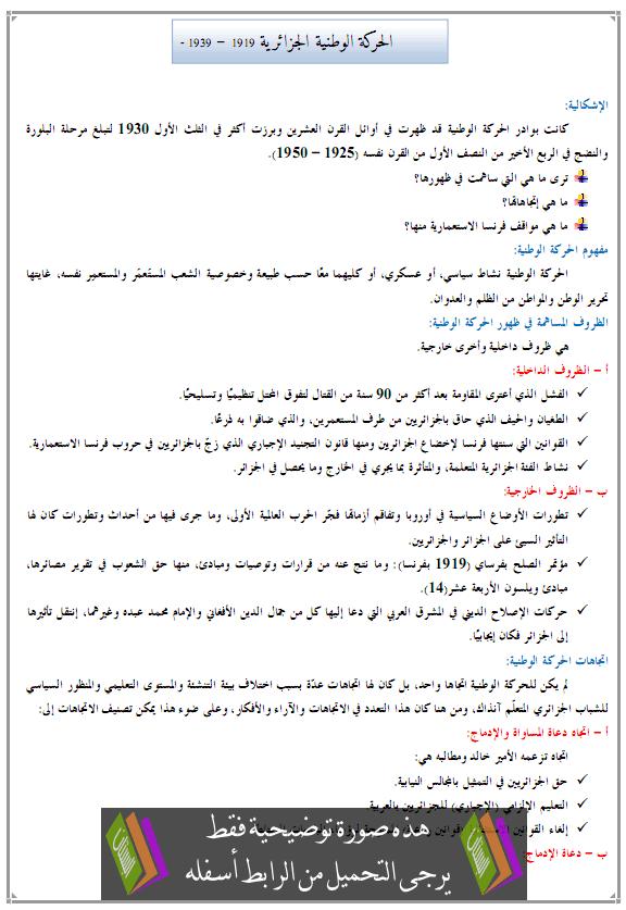 درس الحركة الوطنية الجزائرية 1919 – 1939 – الرابعة متوسط