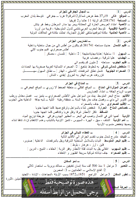 ملخص دروس الجغرافيا للسنة الرابعة متوسط aljoghrafia.png