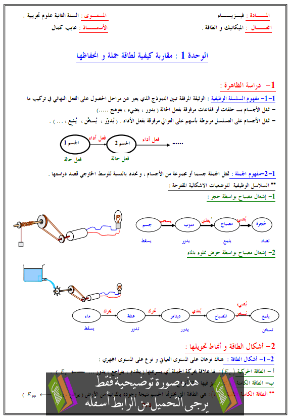 درس مقاربة كيفية لطاقة جملة وانحفاظها - الثانية الثانية ثانوي علوم تجريبية