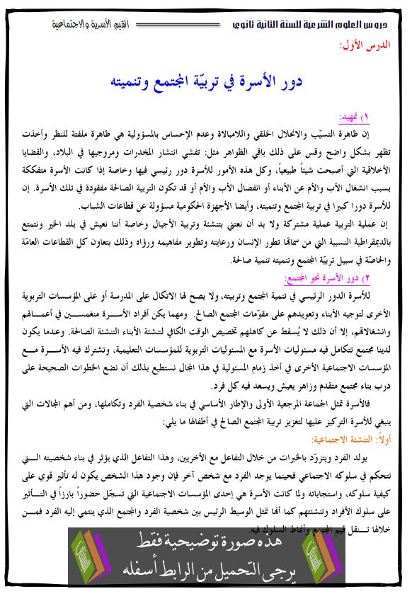 درس العلوم الإسلامية دور الأسرة في تربية المجتمع وتنميته الثانية ثانوي dawt-alosra.png