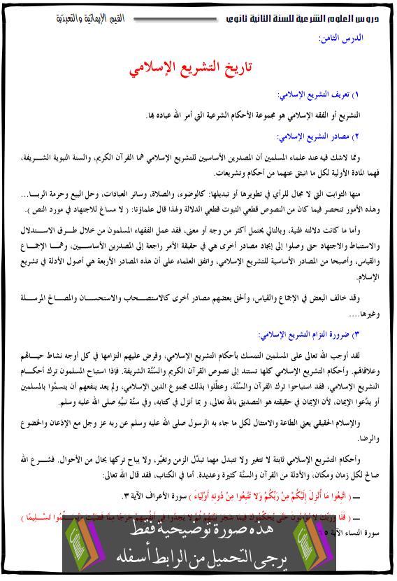 درس العلوم الإسلامية تاريخ التشريع الإسلامي الثانية ثانوي tarikh-atachri3.png