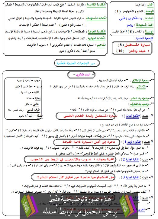 مذكرات مادة اللغة العربية الرابعة متوسط