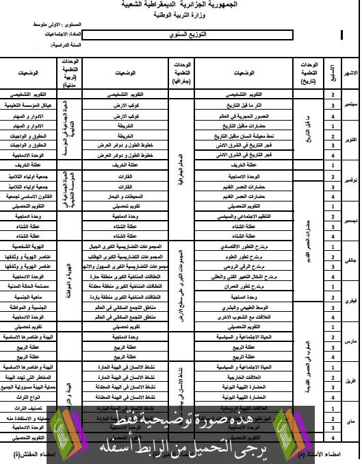 التوزيع السنوي في الاجتماعيات الآولى متوسط - بستان الجزائر
