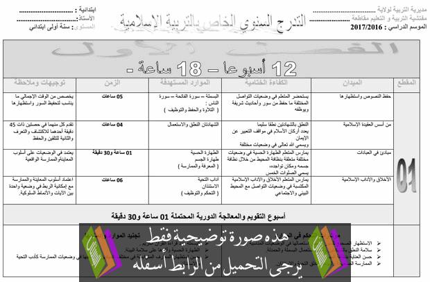 التوزيع السنوي في التربية الإسلامية للسنة الأولى ابتدائي
