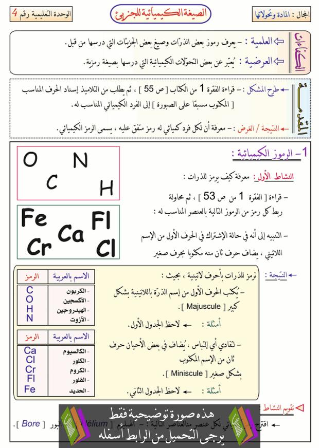 درس الصيغة الكيميائية للجزيء للسنة الثانية متوسط