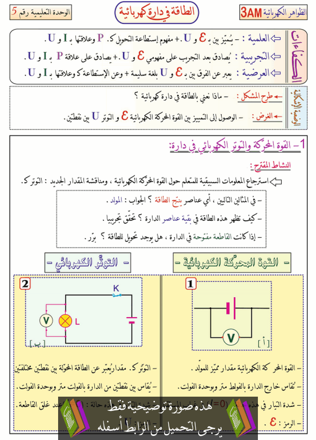 درس الطاقة في دارة كهربائية للسنة الثالثة متوسط