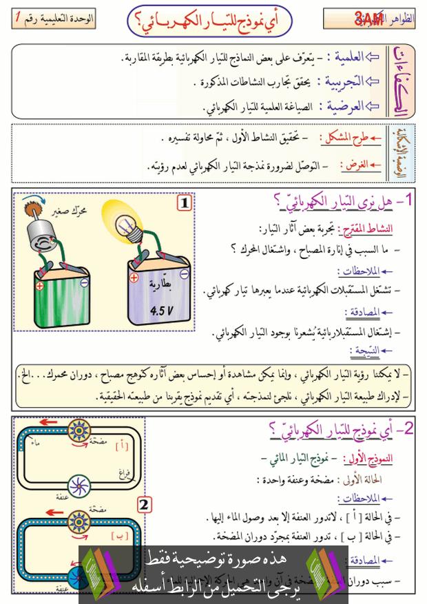 درس أي نموذج للتيار الكهربائي؟ للسنة الثالثة متوسط