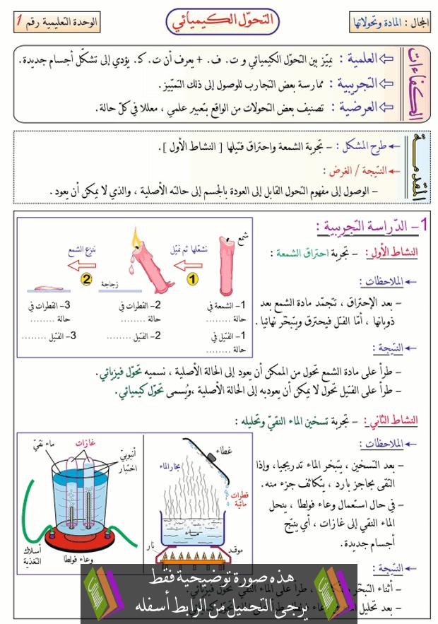 درس التحول الكيميائي للسنة الثانية متوسط